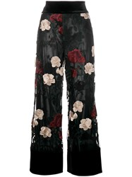 Ganni 'Simmons' Floral Embroidered Trousers Black