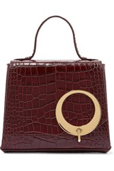 Trademark Harriet Small Croc Effect Leather Tote Burgundy