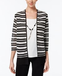Alfred Dunner Striped Layered Look Top Black And White