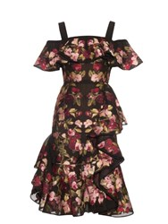 Alexander Mcqueen Ruffle Fil Coupe Jacquard Chiffon Gown Black Red