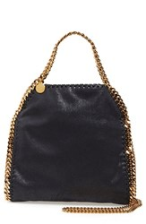 Stella Mccartney 'Mini Falabella Shaggy Deer' Faux Leather Tote Blue Navy With Gold