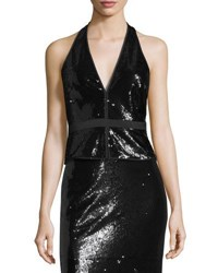 Halston Sequined Split Neck Halter Top Black Metallic