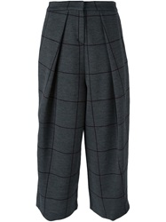 Emporio Armani Checked Cropped Trousers Grey