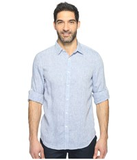 Perry Ellis Solid Rolled Sleeve Linen Shirt Colony Blue Men's Clothing