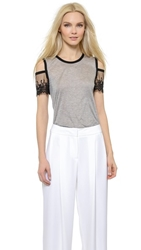 Yigal Azrouel Cutout Shoulder T Shirt Heather Grey Multi