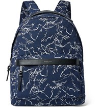 Michael Kors Leather Trimmed Printed Cordura Backpack Storm Blue
