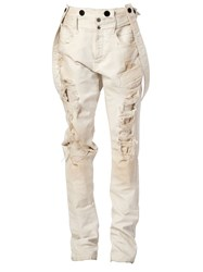 Faith Connexion Distressed Suspender Trousers White