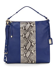Badgley Mischka Taryn Snake Print Panel Leather Shoulder Hobo Bag Sapphire Snake