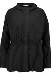 James Perse Cotton And Silk Blend Hooded Coat Black