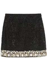 Ashish Embellished Sequined Mini Skirt Black