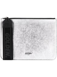 Golden Goose Deluxe Brand Flat Clutch Bag Metallic