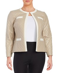 Tahari By Arthur S. Levine Plus Quilted Faux Leather Jacket