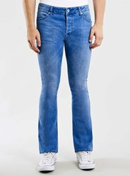 Topman Light Wash Stretch Flare Jeans Blue