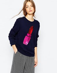 Sportmax Code Sweatshirt With Sequin Lipstick Navy