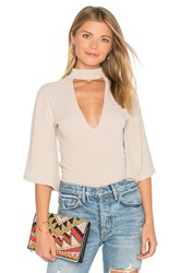 Minkpink Rib Flare Sleeve Reversible Top Taupe