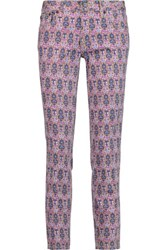 Tory Burch Alexa Cropped Printed Mid Rise Straight Leg Jeans Grape