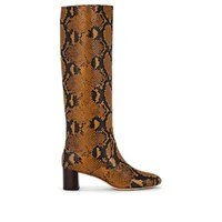 Loeffler Randall Gia Snakeskin Stamped Leather Knee Boots Amber