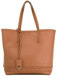 Tod's Braided Details Tote Women Calf Leather Leather Suede One Size Nude Neutrals