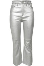 Current Elliott Woman Metallic Stretch Leather Kick Flare Pants Silver