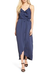 Everly Women's Ruffle Wrap Maxi Dress Navy