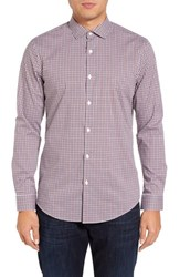 Calibrate Men's Big And Tall Trim Fit Non Iron Check Sport Shirt Rust Picante Navy Check