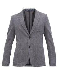 Etro Diamond Jacquard Cotton Blend Blazer Blue