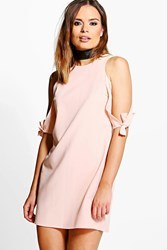 Boohoo Tie Sleeve Cold Shoulder Shift Dress Coral