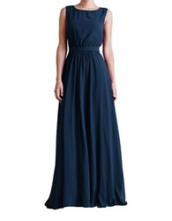 Paper Crown Tori Pleated A Line Dress Navy