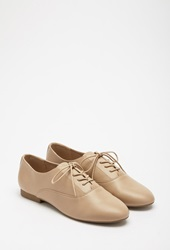 Forever 21 Faux Leather Oxfords Taupe