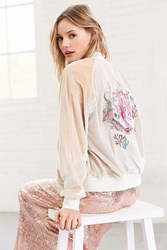 Silence And Noise On Tour Velvet Varsity Bomber Jacket Ivory