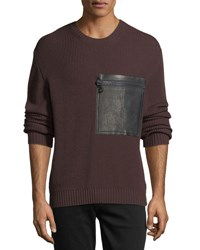 Valentino Rib Knit Leather Zip Pocket Sweater Brown Black