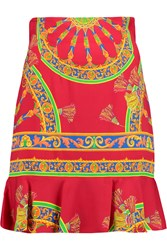 Dolce And Gabbana Printed Stretch Crepe Mini Skirt Red