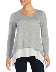 Design Lab Lord And Taylor Silver Sparkle Layered Top Silver Grey