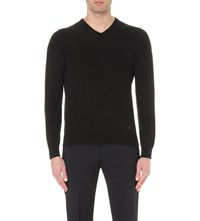 Armani Collezioni V Neck Knitted Cotton Jumper Black