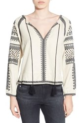 Pam And Gela Embroidered Peasant Blouse White