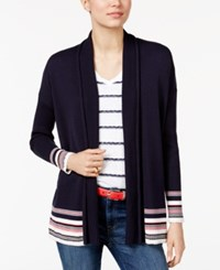 Tommy Hilfiger Striped Open Front Cardigan Only At Macy's Midnight