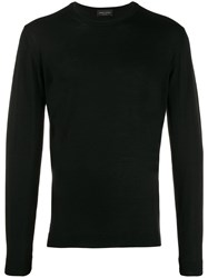 Roberto Collina Long Sleeve Fitted Sweater Black