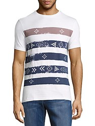 Sovereign Code Striped Crewneck Cotton Tee White Blue