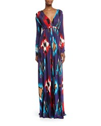 Rachel Pally Long Sleeve Printed Jersey Maxi Caftan Dress Women's Sumatra Print