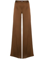 Romeo Gigli Vintage Glossy Flared Trousers Brown
