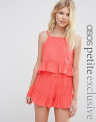 Asos Petite Textured Beach Frill Top Co Ord Coral Multi