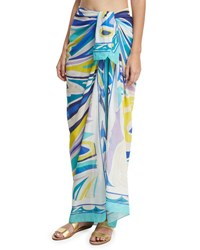 Emilio Pucci Lance Voile Pareo Coverup Multi Pink Pattern