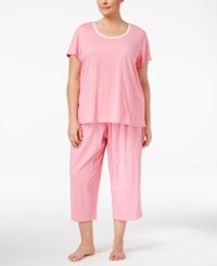 Charter Club Plus Size Printed Cotton Pajama Set Only At Macy's Pink Duo Dot