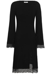 Adeam Woman Lace Trimmed Ribbed Knit Silk Dress Black