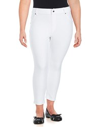 Hue Plus Essential Denim Capri Leggings White