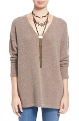 Free People Oversize V Neck Sweater Taupe