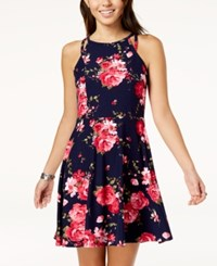 Planet Gold Juniors' Double Strap Fit And Flare Dress Navy Floral