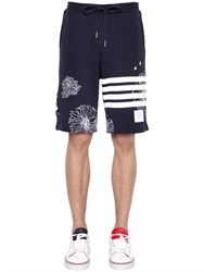Thom Browne Flower Embroidered Cotton Jogging Shorts