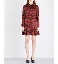 Ganni Iona Stretch Silk Shirt Dress Brick Tiger