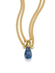 Anthony Camargo London Blue Topaz And 14K Yellow Gold Draped Pendant Necklace Gold Topaz